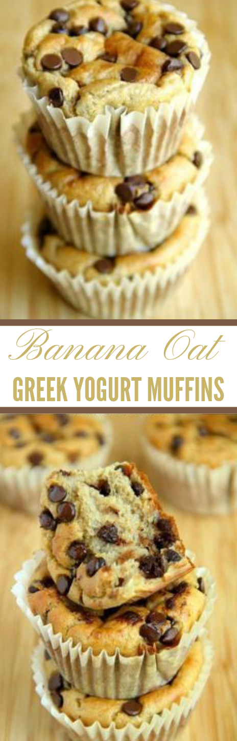 Banana Oat Greek Yogurt Muffins #banana #dessert