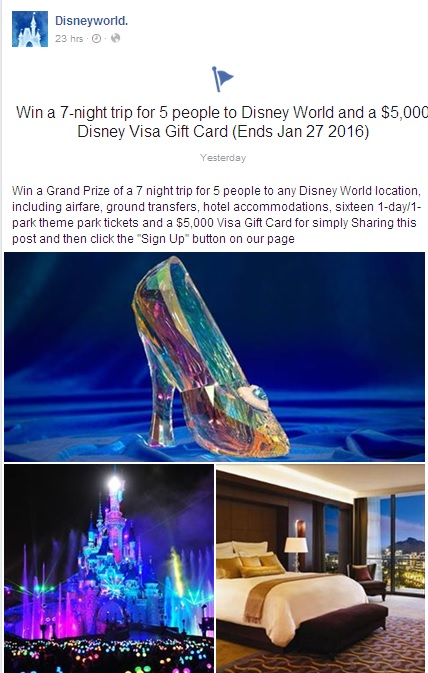 Clicking this link WON'T win you a 7-night Disney World trip and $5,000 cash.
