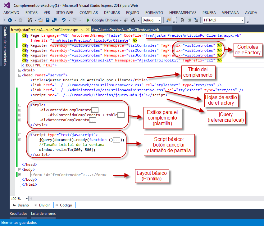 Complemento - Archivo ASPX (Encabezado) - Programación de Complementos para eFactory ERP/CRM, Contabilidad y Nómina