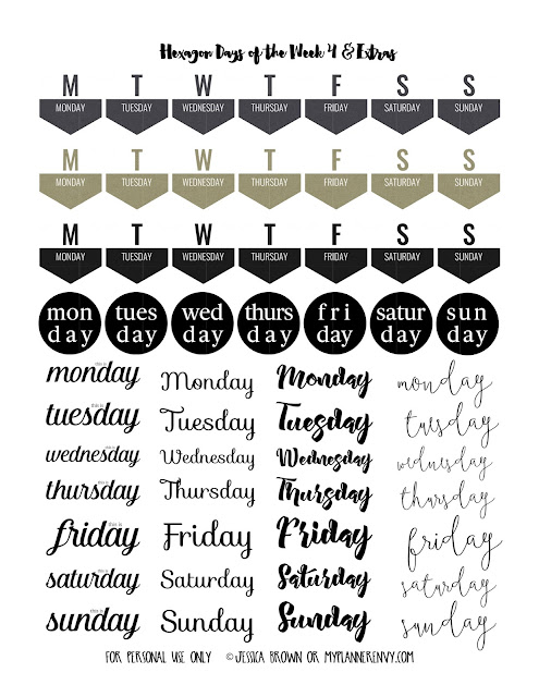 Days of the Week Page 4 & Extras Free Printable on myplannerenvy.com