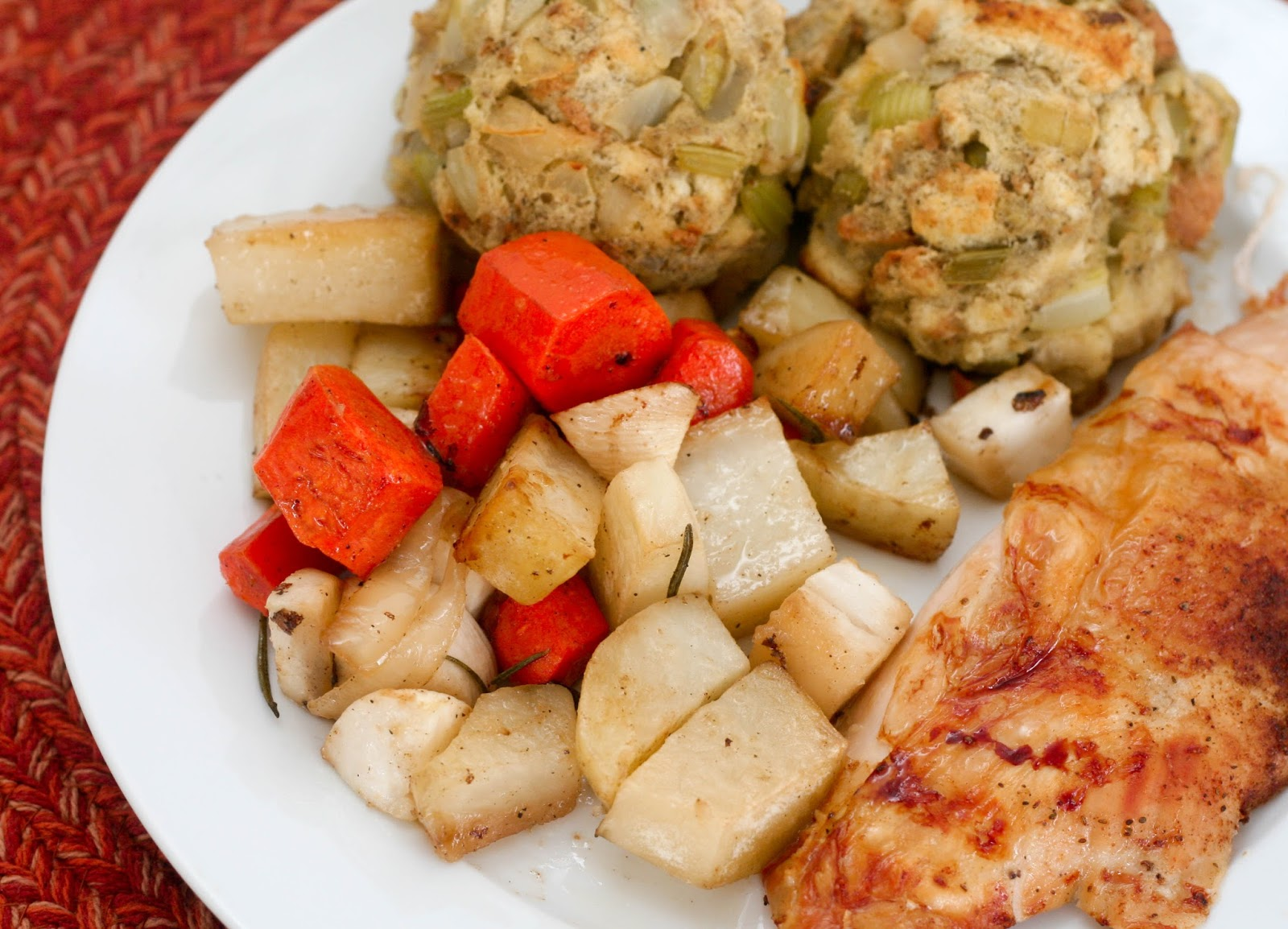 2 Hour Sheet Pan Thanksgiving for Two or Four: Old Bay Turkey Breast, Roasted Root Vegetables and Herbed Stuffing
