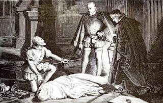 Dibujo que muestra al médico arrodillado ante el cadáver, hablando con el rey mientras el cura sostiene un farol