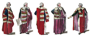 Peers (from left to right): duke, marquess, earl, viscount, baron from A book explaining the ranks and  dignitaries of British Society (1809)