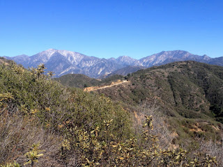 View east toward Glendora Mountain Road and Mount Baldy from Lower Monroe Road (2N16), Angeles National Forest