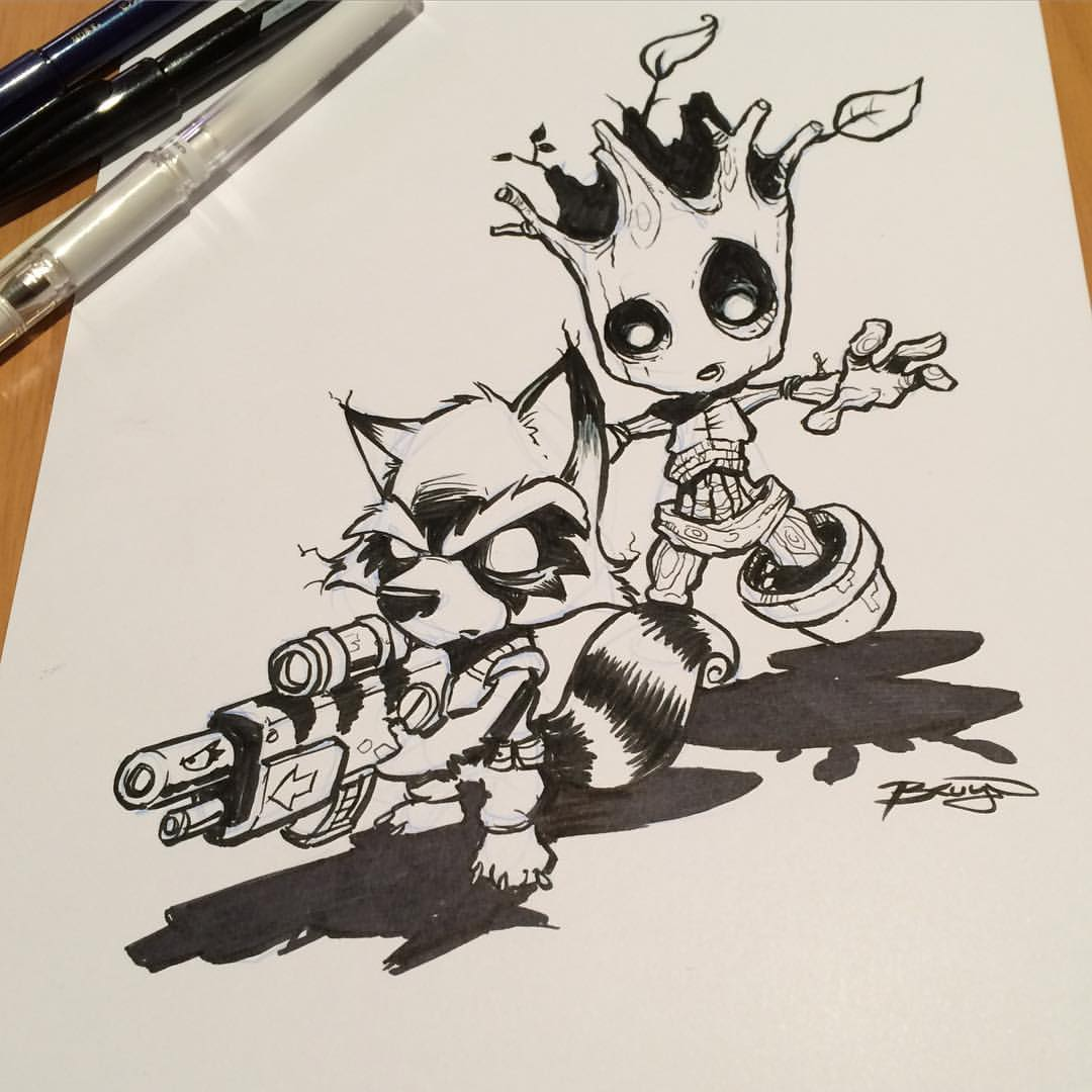 From Above Comic Book Rocket Raccoon And Groot