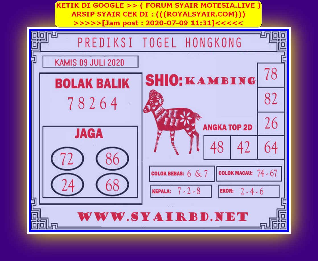Kode syair Hongkong Kamis 9 Juli 2020 205