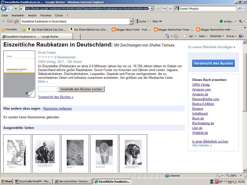 buch welt blick ins taschenbuch eiszeitliche raubkatzen in deutschland. Black Bedroom Furniture Sets. Home Design Ideas