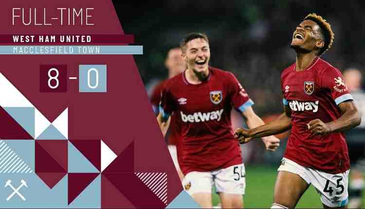 Hasil West Ham United vs Macclesfield Town Skor Akhir 8-0