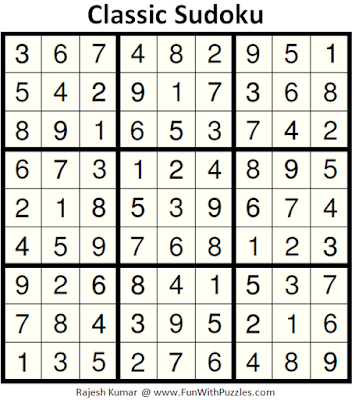 Classic Sudoku (Fun With Sudoku #156) Answer