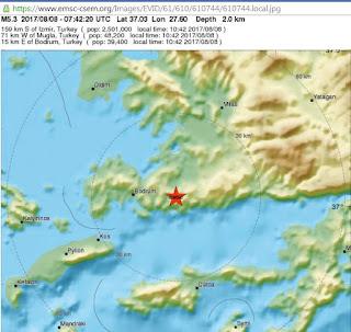 Σεισμός 5,3 στην κλίμακα ρίχτερ έπληξε το Μπόντρουμ