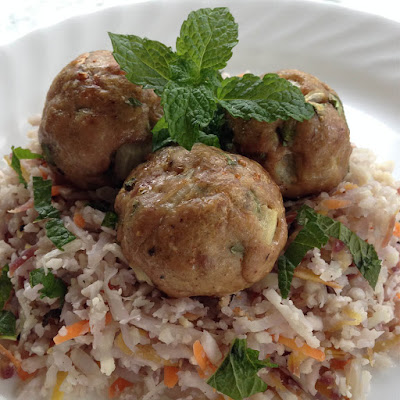 Asian Meatballs with Carrot-Mint Cauliflower Rice recipe