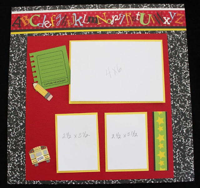 ideas for a back to school scrapbook page layout, alphabet, pencil