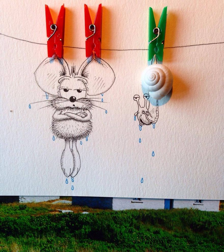 17-Hanging-out-to-Dry-Loïc-Apreda-apredart-Drawings-of-Rikiki-the-Mouse-and-his-Famous-Friends-www-designstack-co