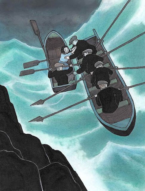 a Tomi Ungerer illustration of a rescue in stormy seas