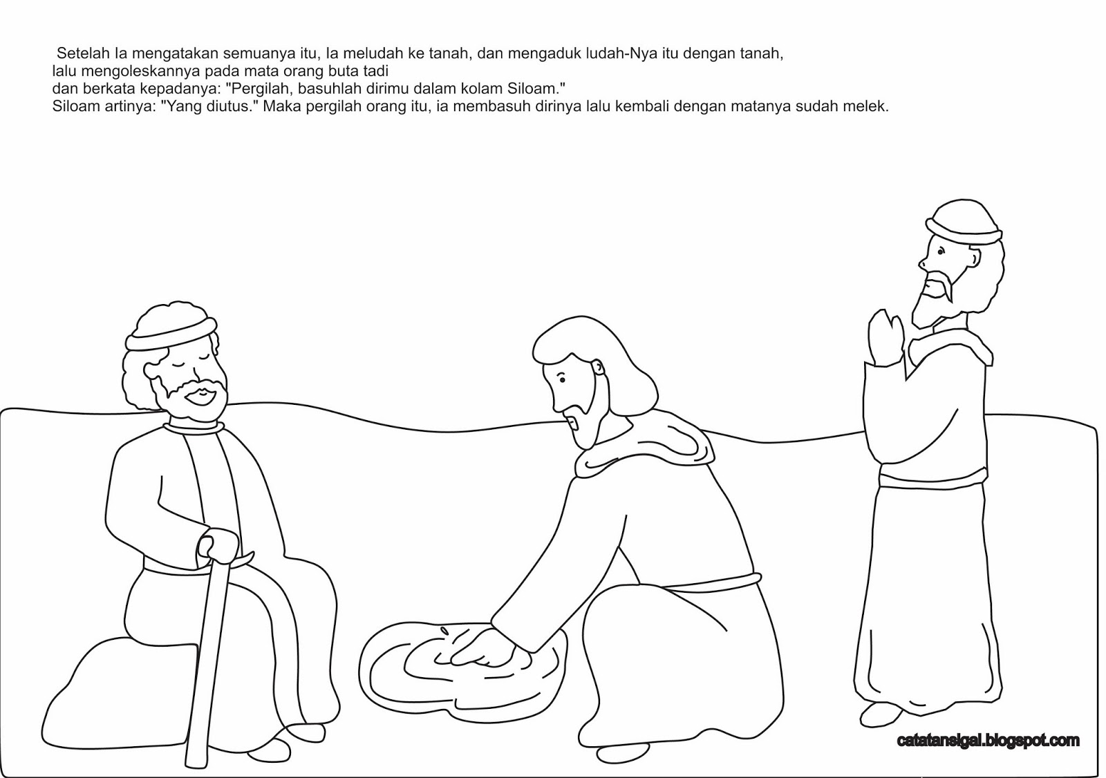 Catatan SiGal Mewarnai Gambar Yesus Menyembuhkan Orang Buta