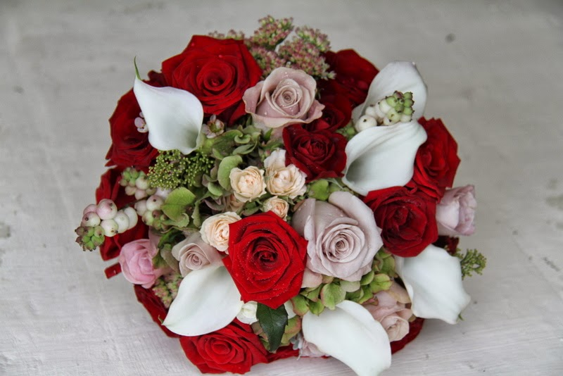 Fabulous The Flower Magician: Nude & Poppy Red Wedding Bouquet CR47
