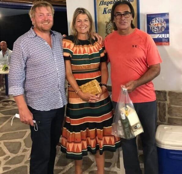 Bohemian striped multicolor length dress, round neck. King Willem-Alexander and Queen Maxima visited local tavernas in Greek island