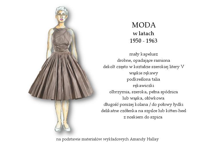 Agnieszka Sajdak-Nowicka moda w latach pięćdziesiątych 1950 - 1963 na podstawie materiałów wykładowych Amandy Hallay