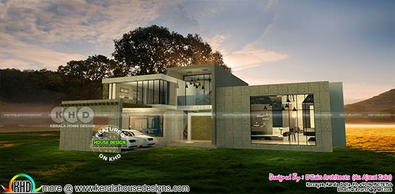 Night view of 5 bedroom flat roof house
