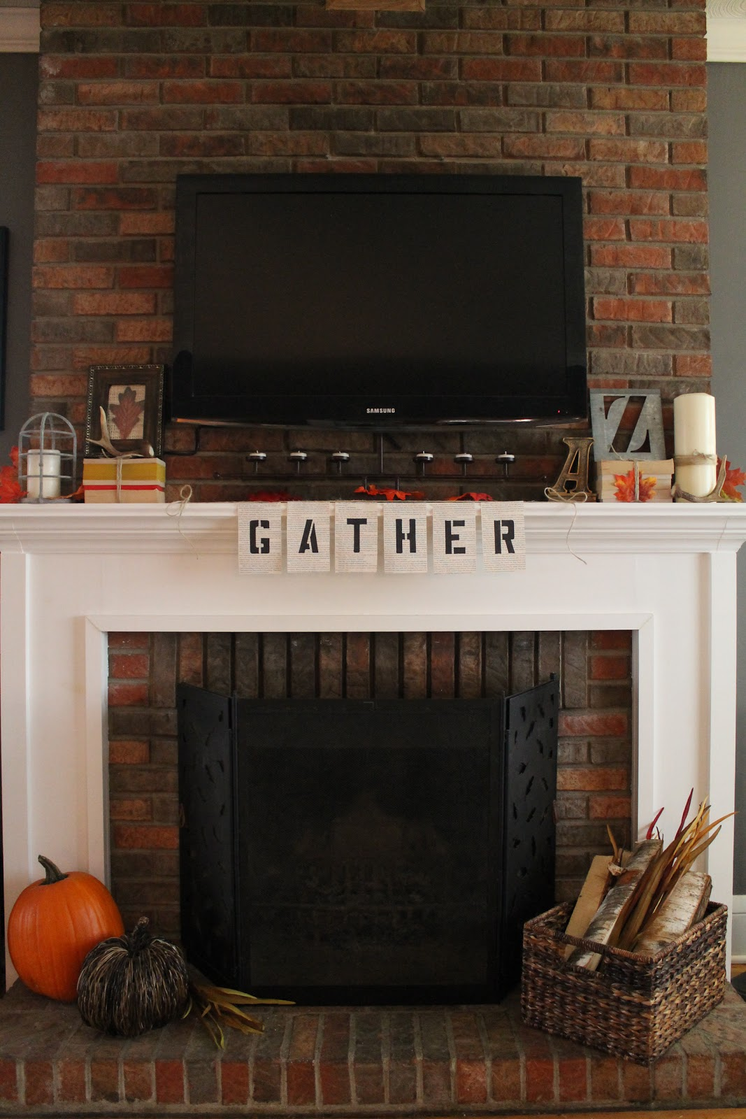 hammers and high heels gather 39 round our fall fireplace mantel. Black Bedroom Furniture Sets. Home Design Ideas