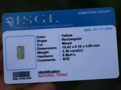 Yellow Topaz Certificate