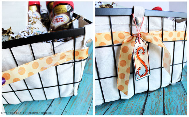 looping ribbon on gift basket, coffee lovers gift basket, coffee-mate