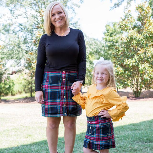 monogrammed reversible skirt