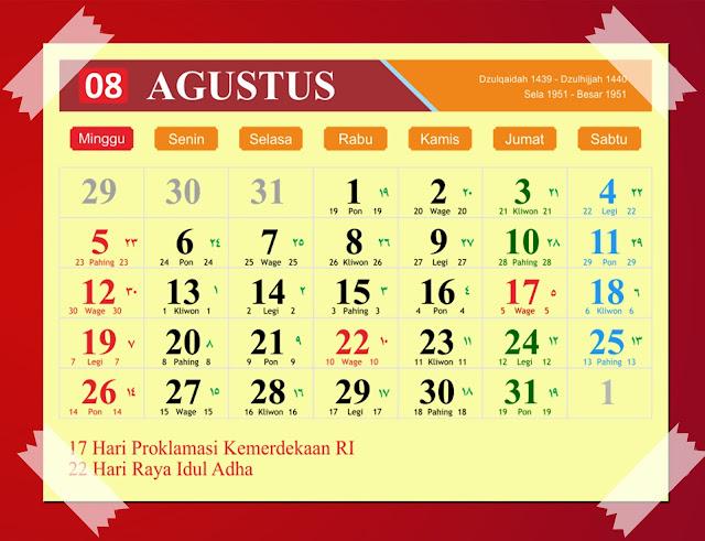 Download Kalender Agustus 2018 Hijriyah Jawa Dan Pasaran