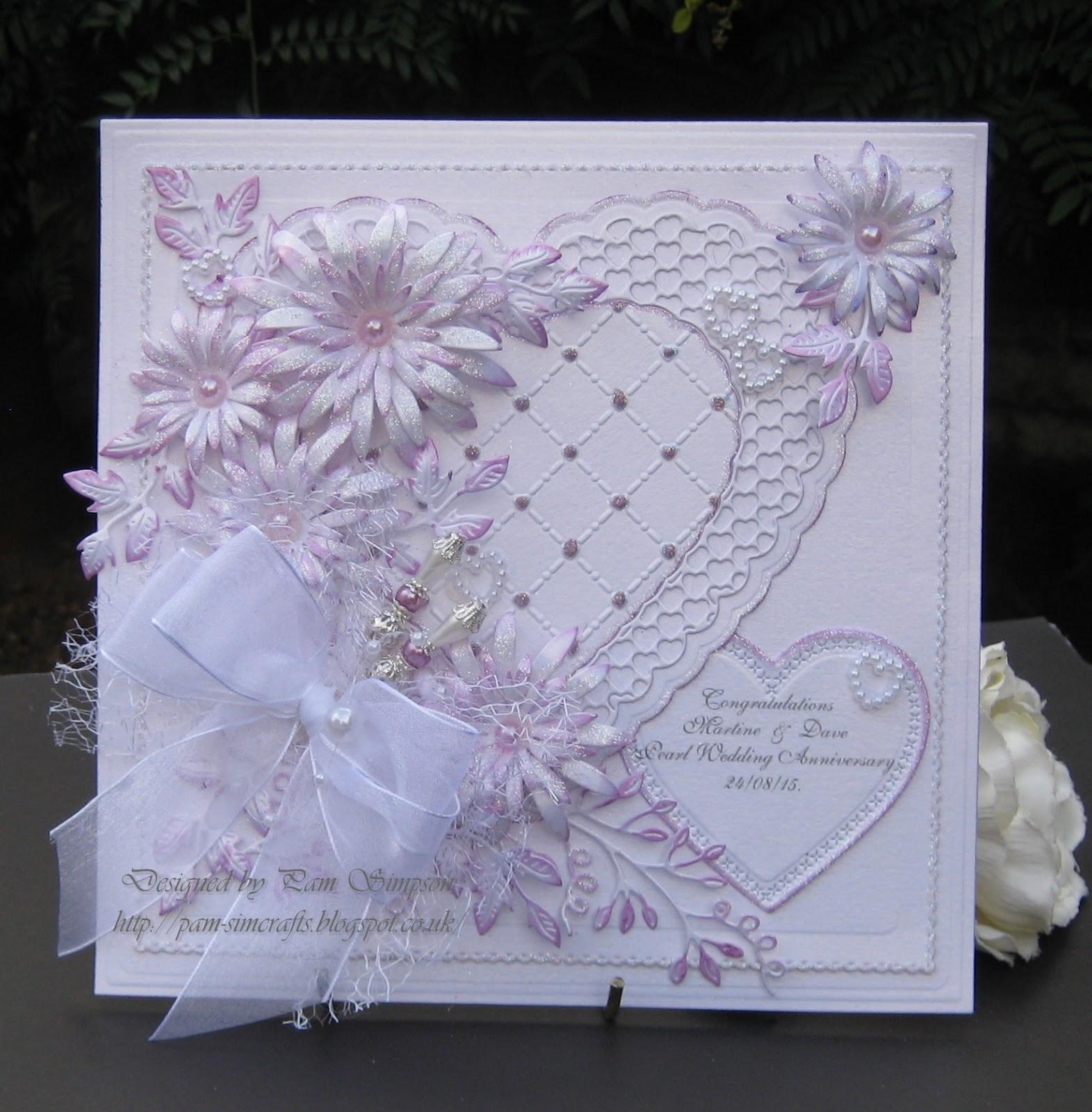 "pamscrafts friends ""pearl wedding anniversary"" card"