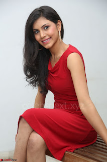 Mounika Telugu Actress in Red Sleeveless Dress Black Boots Spicy Pics 025.JPG