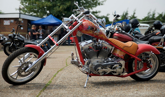custom red stretched harley davidson