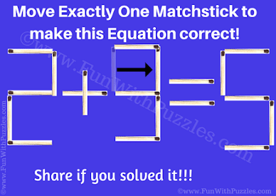 Answer of Matchstick Puzzle for Children