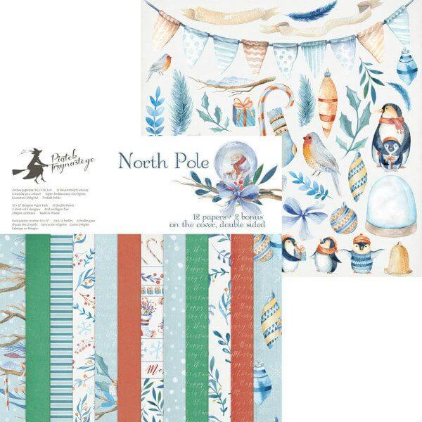 Selection of North Pole-themed scrapbook papers