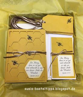 DIY Geschenk-Verpackung-Set mit Karten und Anhängern von Stampin' Up! honiggelb, honig, geschenkanhänger, demonstratorin in coburg, bestellen, Karton, briefumschläge bestempeln, Honig, Biene