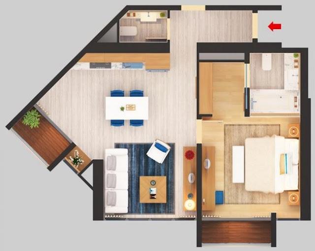 Thiết kế căn hộ 72.45m2