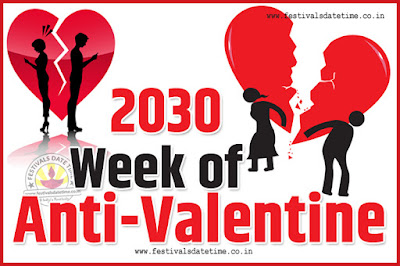 2030 Anti-Valentine Week List, 2030 Slap Day, Kick Day, Breakup Day Date Calendar