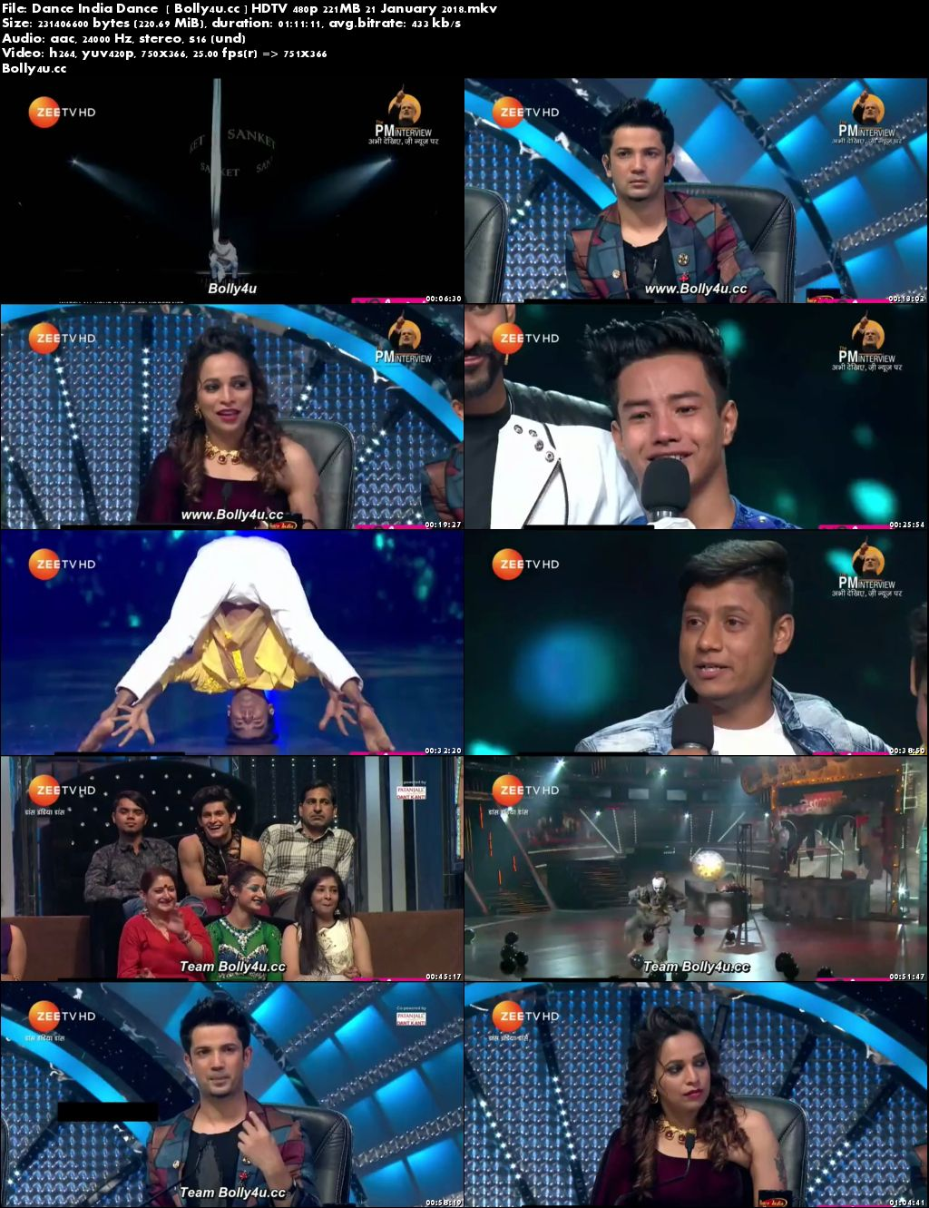Dance India Dance HDTV 480p 200MB 21 January 2018 Download