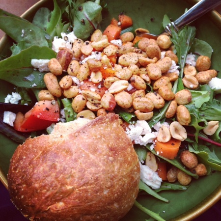 Dry roasted peanuts on salad in Memorial Day