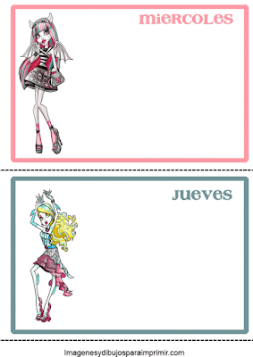 dias de la semana con monster high