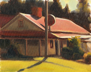 Oil painting of a building with a red pitched roof and a verandah in sunlight.