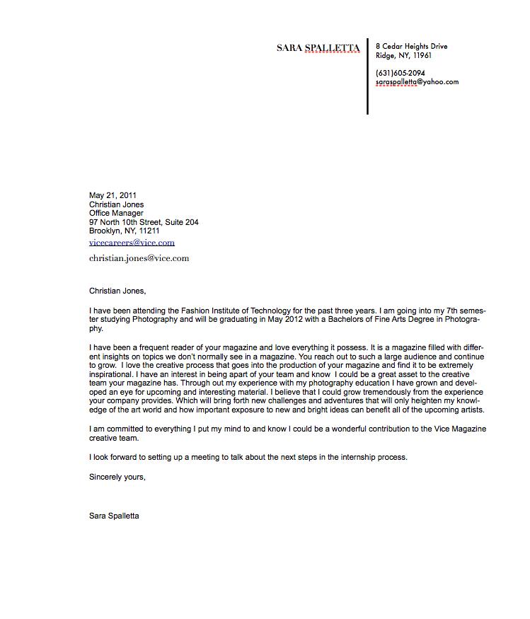 Class Assignments: Job Application Letter