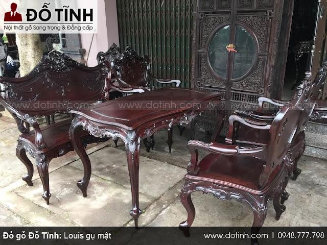 Bộ bàn ghế Louis Pháp gụ mật