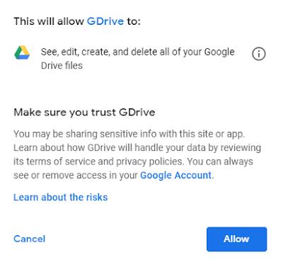 Izin Google Drive Pribadi
