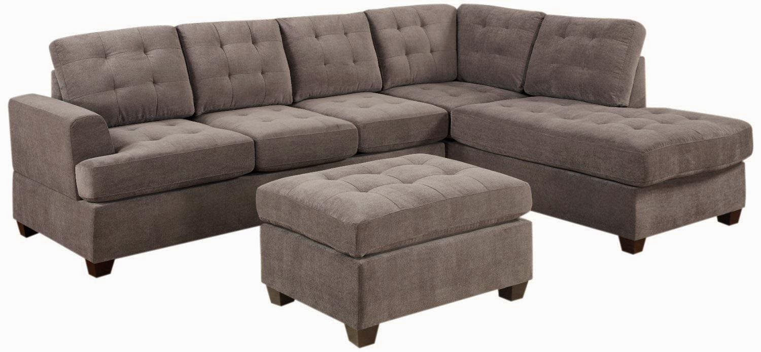Bobkona Austin 3-Piece Reversible Sectional with Ottoman Sofa Set