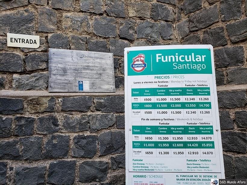 Preços do Funicular no Cerro San Cristóbal - o que fazer em Santiago