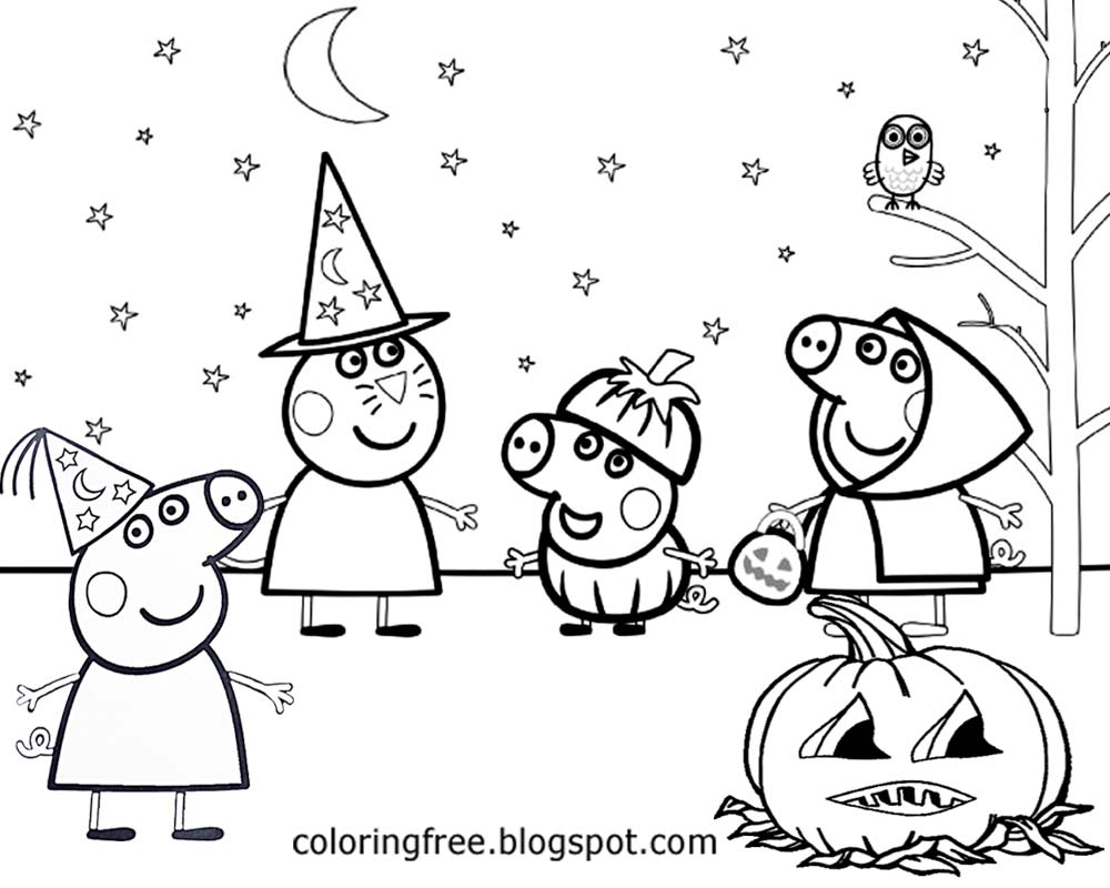 Big Drawing Of Peppa Pig Printable Clipart Easy Halloween Coloring Page For Pre School Playgroup