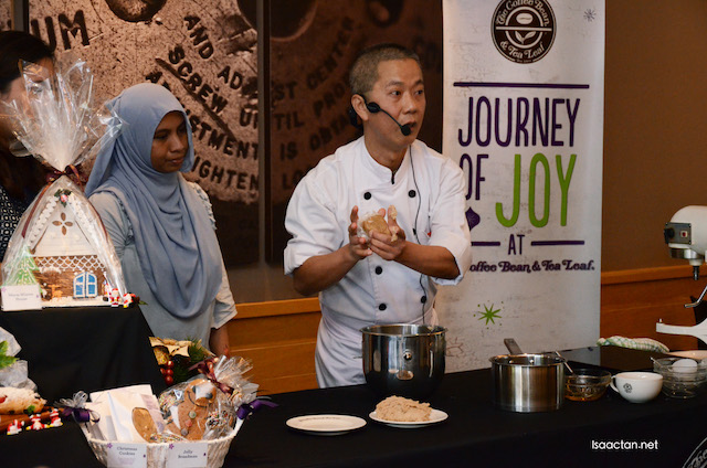 Chef Johnny Loh making gingerbread man dough live