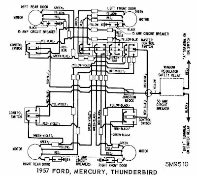 Ford Mercury and Thunderbird 1957 Windows Wiring Diagram