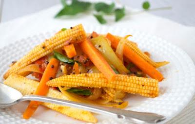 Mini Milho e Cenoura com Gengibre e Especiarias (vegana)