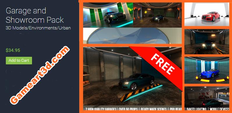 Showroom and Garage 3D Model Unity Pack - Game Art 3D